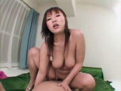 Big breasted japanese cutie Rei Himekawa riding a huge shaft on the couch