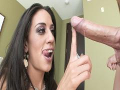 Lyla Storm nearly drowns on a sea of cum after sucking cock