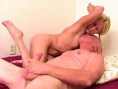 Old man does some armpit and foot fetish on a smoking blonde