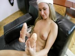 Hungarian blonde slut teases and masturbates for Rocco's POV
