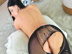 Hot India Summer gets a messy cumshot on her pretty leggings