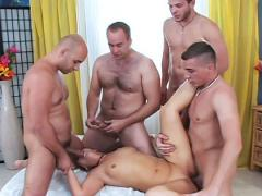 Mom gets a taste of a real gangbang with 4 young & sexy boys