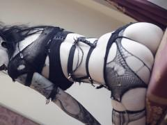 Goth babe RazorCandi plays with butt plug and big black dildo