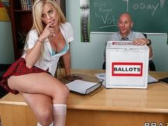 Cute & playful blonde schoolgirl fucks her teacher in class