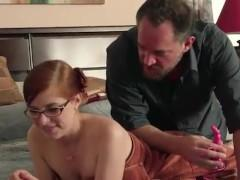 Daddy Teaches Redheaded Step-Daughter All About Anal