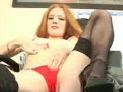 Redhead Secretary doing striptease and masturbation redhead playboy playmate secretary stockings gar