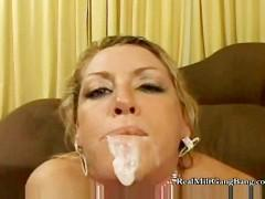 Blonde Takes Two Cumshots